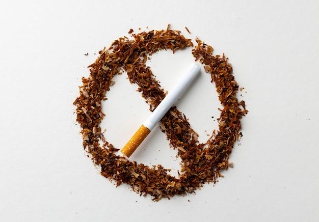 Znak zakazu palenia z rozrzuconym tytoniem