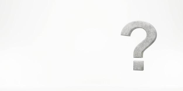 Znak zapytania na białym tła 3d renderingu