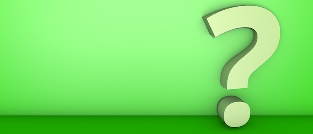 Znak zapytania na zielono. ilustracja 3d.
