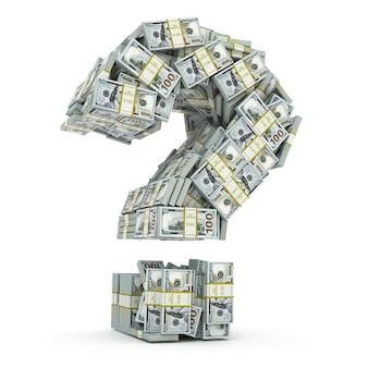 Znak zapytania z paczek dolara na białym tle gdzie zainwestować koncepcję pieniędzy 3d