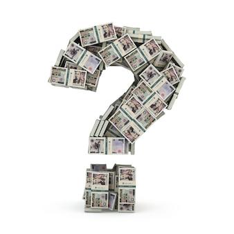 Znak zapytania z paczek jena na białym tle. gdzie zainwestować pojęcie pieniędzy. 3d