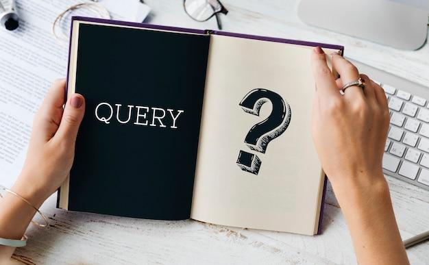 Znak zapytania zapytanie o informacje dotyczące usługi wsparcia graficznego