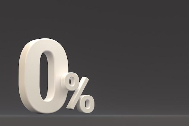 Znak zero procent i rabat na sprzedaż na czarnym tle ze specjalną stawką oferty. renderowanie 3d