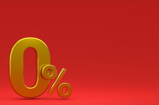 Znak zero procent i rabat na sprzedaż na czerwonym tle ze specjalną stawką oferty. renderowanie 3d