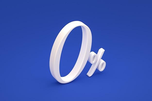 Znak zero procent i rabat na sprzedaż na niebieskim tle ze specjalną stawką oferty. renderowanie 3d