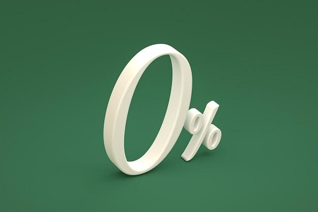 Znak zero procent i rabat na zielonym tle ze specjalną ofertą cenową. renderowanie 3d