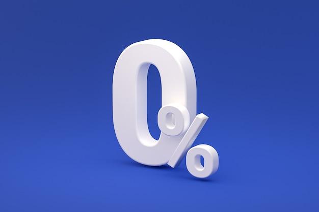 Znak zero procent i zniżka sprzedaży na niebieskim tle ze specjalną stawką oferty. renderowanie 3d