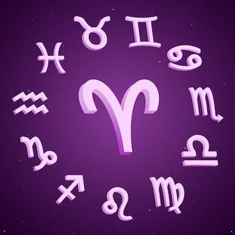 Znak zodiaku baran ze wszystkimi znakami wokół 3d