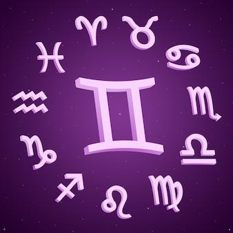 Znak zodiaku bliźniąt ze wszystkimi znakami wokół 3d