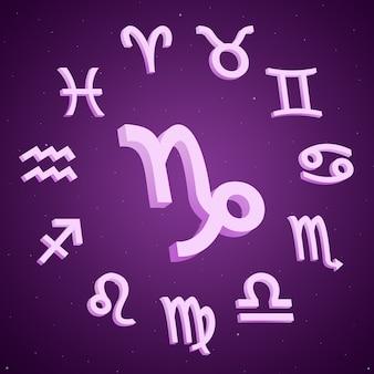 Znak zodiaku koziorożec ze wszystkimi znakami wokół 3d