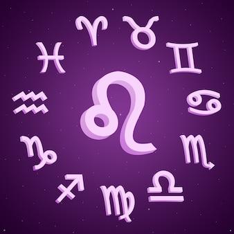 Znak zodiaku lwa ze wszystkimi znakami wokół 3d