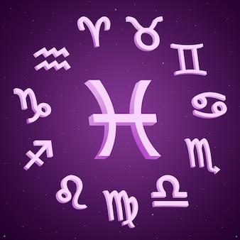 Znak zodiaku ryby ze wszystkimi znakami wokół 3d