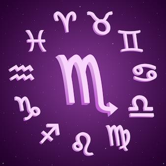 Znak zodiaku skorpion ze wszystkimi znakami wokół 3d