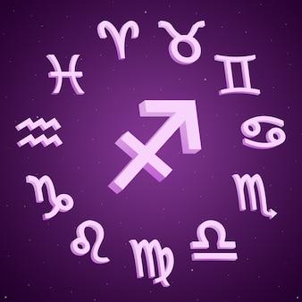 Znak Zodiaku Strzelec Ze Wszystkimi Znakami Wokół 3d Premium Zdjęcia