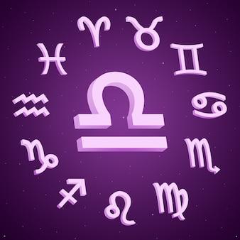 Znak Zodiaku Waga Ze Wszystkimi Znakami Wokół 3d Premium Zdjęcia