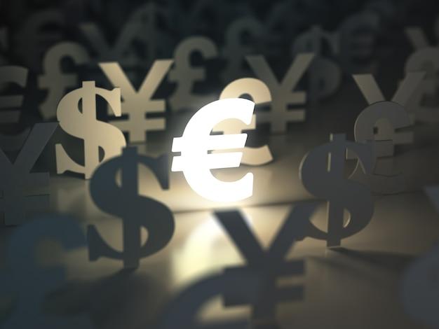 Znaki euro, dolara, funta i jena. koncepcja wymiany walut. 3d
