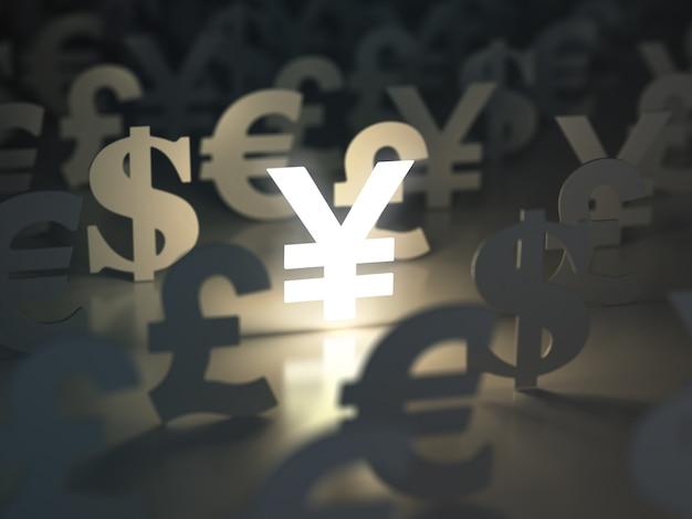 Znaki jena, dolara, euro i funta. koncepcja wymiany walut. 3d