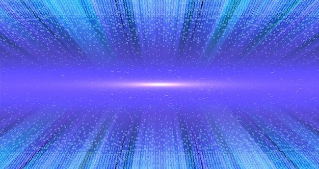 Znaki świetlne w tunelu danych strukturalnych. technologia cyfrowa kodu binarnego. od chaosu do systemu. sztuczna inteligencja.big data.inteligentny system.