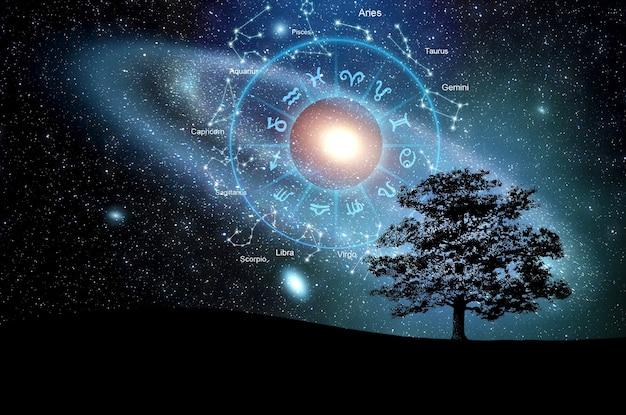 Znaki zodiaku wewnątrz okręgu horoskop. astrologia na niebie, koncepcja horoskopów