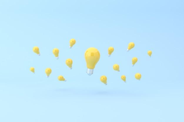 Znakomita żółta żarówka wokół małych żarówek
