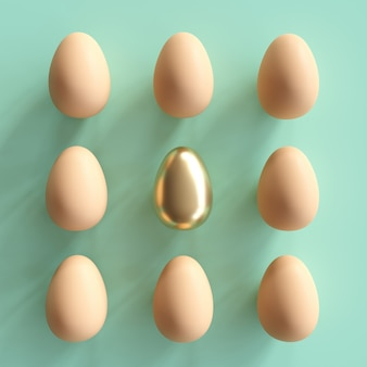 Znakomite złote jajko wśród naturalnych jaj na zielonym tle. minimalny pomysł na wielkanoc.
