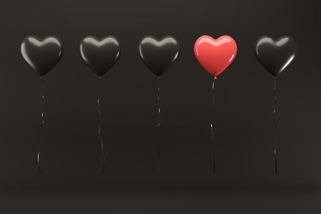 Znakomity balon red heart wśród z balonem czarnego serca unoszący się na czarnym tle 3d render valentine concept idea