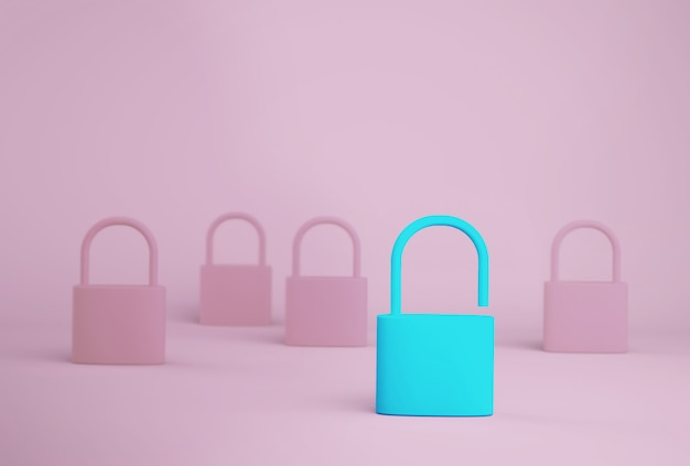 Znakomity niebieski klucz odblokowujący stojący jeden inny od innych na niebieskim tle. koncepcja lidera zespołu udanego biznesu.