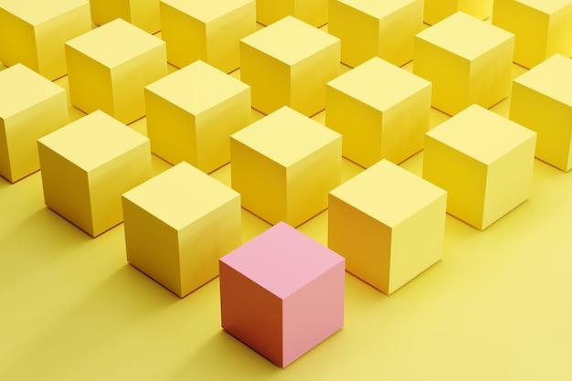Znakomity różowy pudełko wśród żółtych pudełek na żółtym tle. minimalny pomysł koncepcji