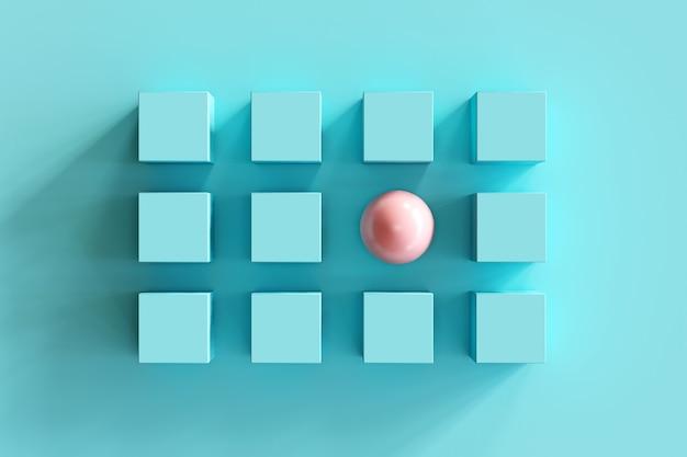 Znakomity różowy shpere wśród niebieskich pudełek na niebieskim tle. minimalny skład płaski