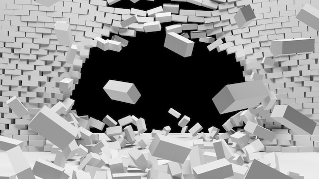 Zniszczenie białego ceglanego muru