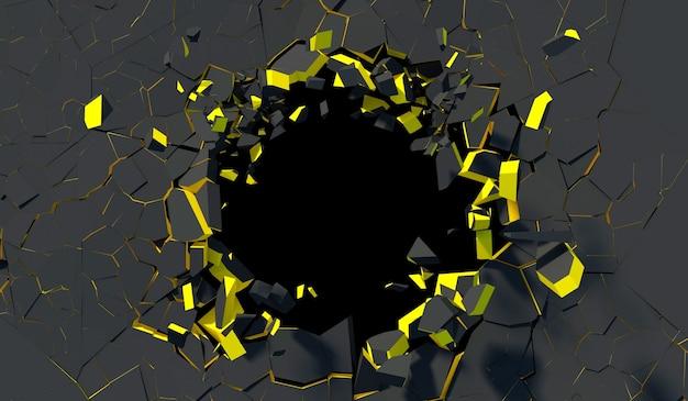 Zniszczona czarna ściana betonowa ze złotą krawędzią w renderowaniu 3d