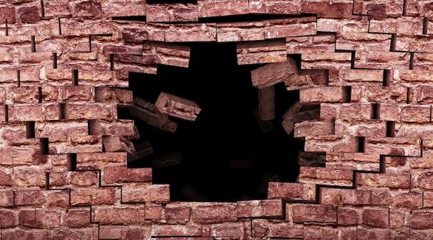 Zniszczony Mur Z Cegły Z Big Hole Premium Zdjęcia
