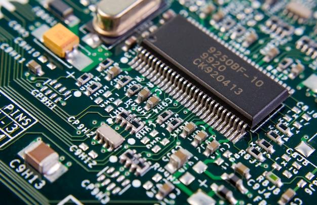 Zobacz na części płyty głównej komputera pod kątem. użyj do tła lub tekstury