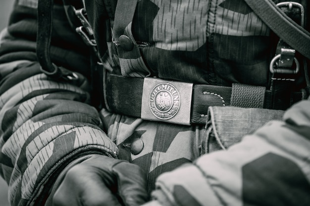 Żołnierz klamry pasa niemiec podczas ii wojny światowej jako żołnierz