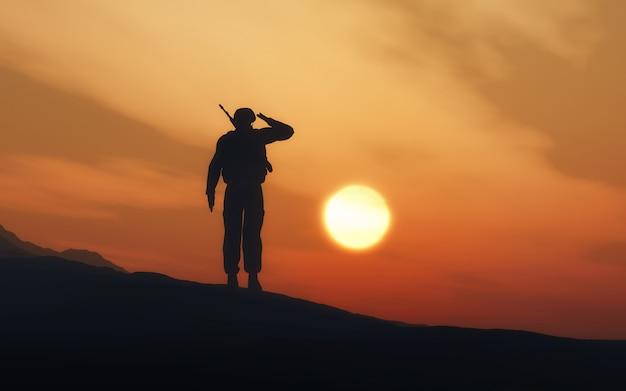 Żołnierz pilnuje projekt