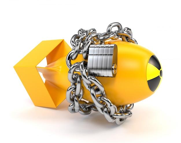 Żółta bomba atomowa z ikoną promieniowania, na białym tle na białym tle.