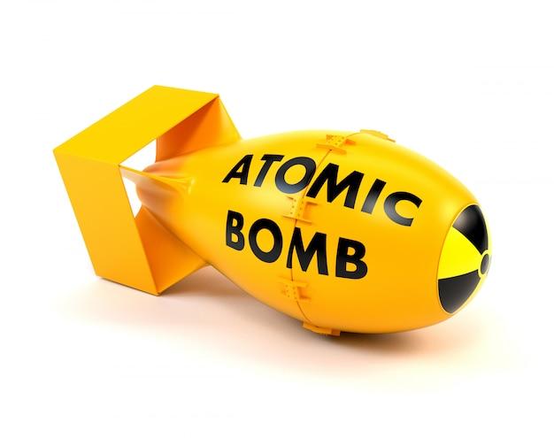 Żółta bomba jądrowa odizolowywająca na białym tle.