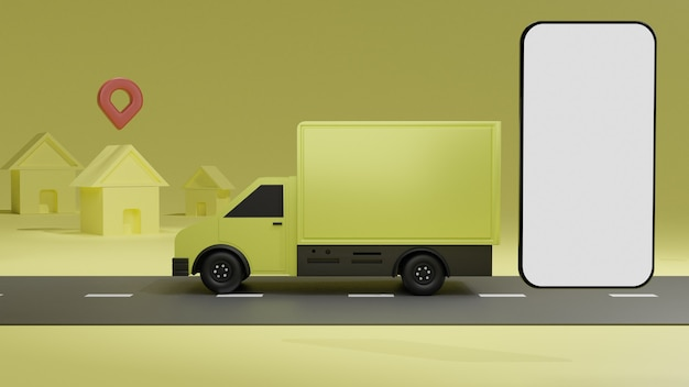 Żółta ciężarówka z makietą telefonu komórkowego z białym ekranem, dostawa zamówienia na żółtym tle
