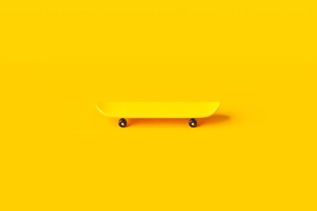 Żółta deskorolka lub deska surfingowa do jazdy na łyżwach na żywym kolorowym tle z ekstremalnym stylem życia. renderowanie 3d.