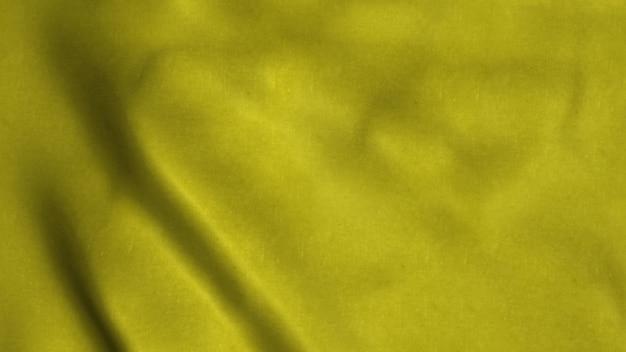 Żółta flaga powiewa na wietrze. koncepcja tła piękne tkaniny. renderowanie 3d