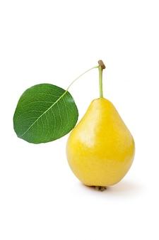 Żółta gruszka z zielonym liściem