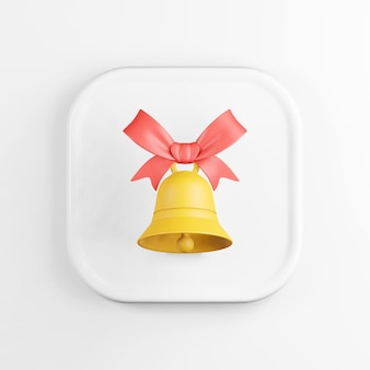 Żółta ikona dzwonka z czerwoną wstążką