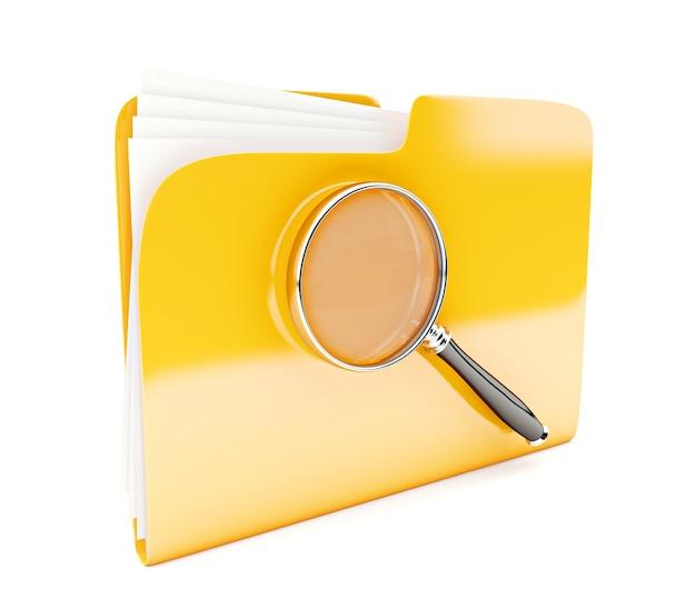 Żółta ikona folderu 3d z lupą na białym tle