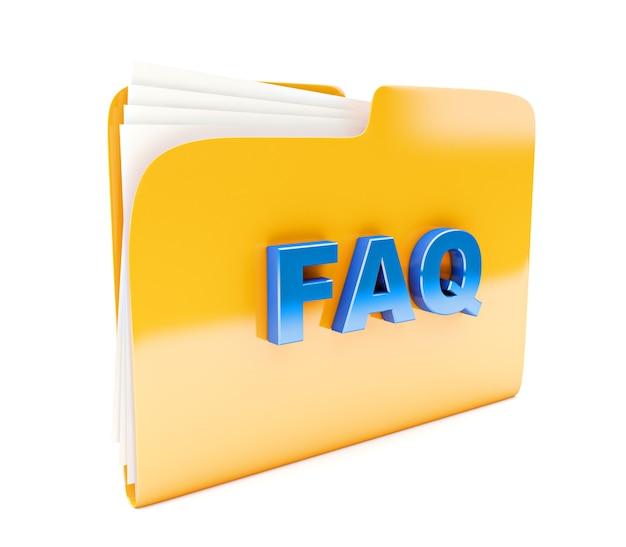 Żółta ikona folderu 3d z tekstem faq na białym tle