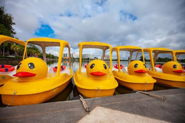 Żółta kaczka rowerowa łódź w parku