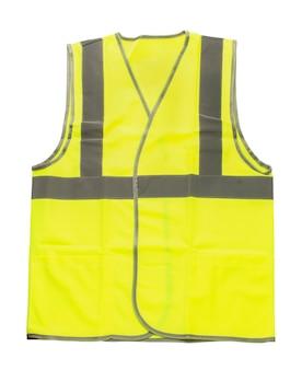 Żółta kamizelka odblaskowa na białym tle