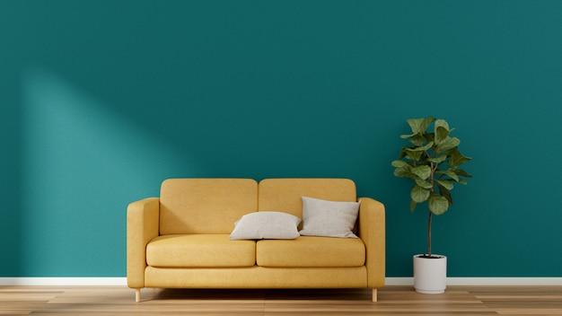 Żółta kanapa i figowiec na laminowanej podłodze z pustą ścianą.