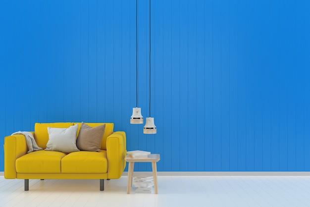 Żółta kanapa niebieska pastelowa ściana biała drewniana podłoga tło tekstury książkowa lampa
