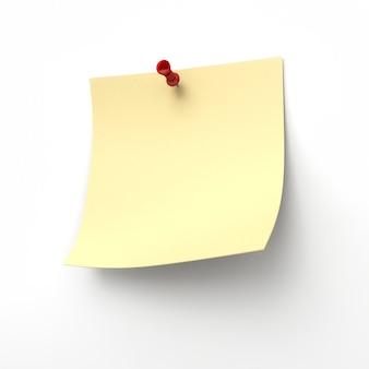 Żółta karteczka z czerwoną pinezką