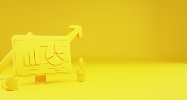 Żółta koncepcja analizy danych tecnology pulpitu. strona główna do lądowania w tle. miejsce na kopię. ilustracja 3d.